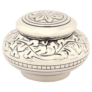 Leaves of Silver Round Keepsake Urn