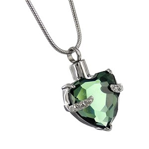 Green Heart Gemstone Cremation Jewelry