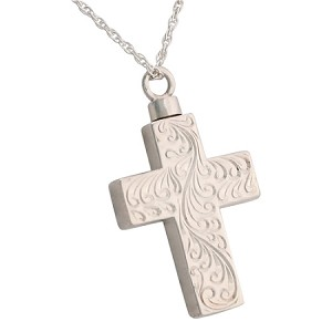 Etched Cross Cremation Jewelry