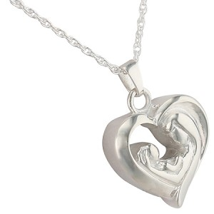 Mother and Child Heart Cremation Jewelry
