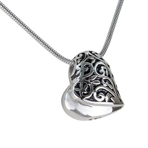 Sideways Swirl Heart Cremation Jewelry