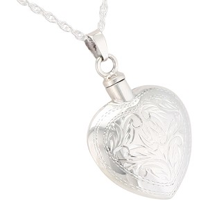 Etched Heart Cremation Jewelry