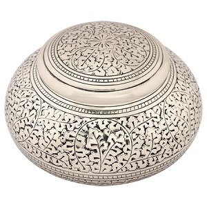 Leaves of Silver Round Urn - Medium