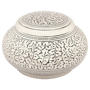 Leaves of Silver Round Urn - Small